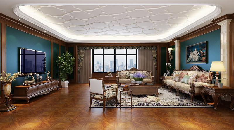 兰州碧桂园欧式古典客厅装修效果图.jpg
