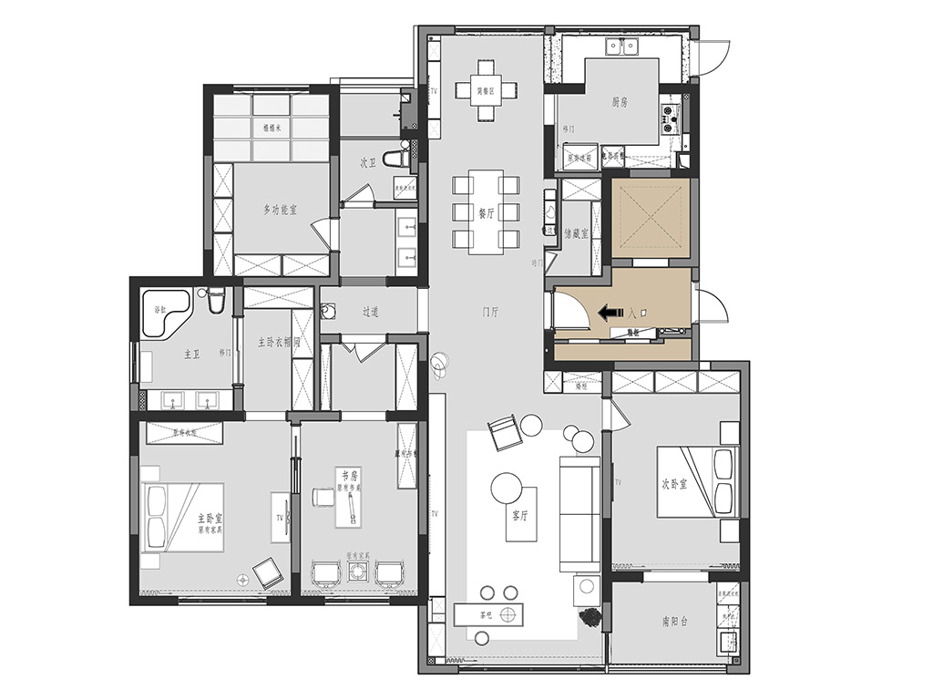苏建名都城A220平现代简约装修设计理念
