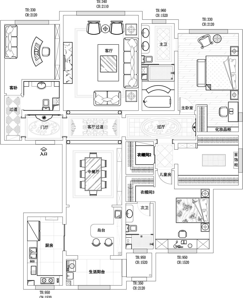 孔雀城·大公馆-220平米-欧式装修设计理念