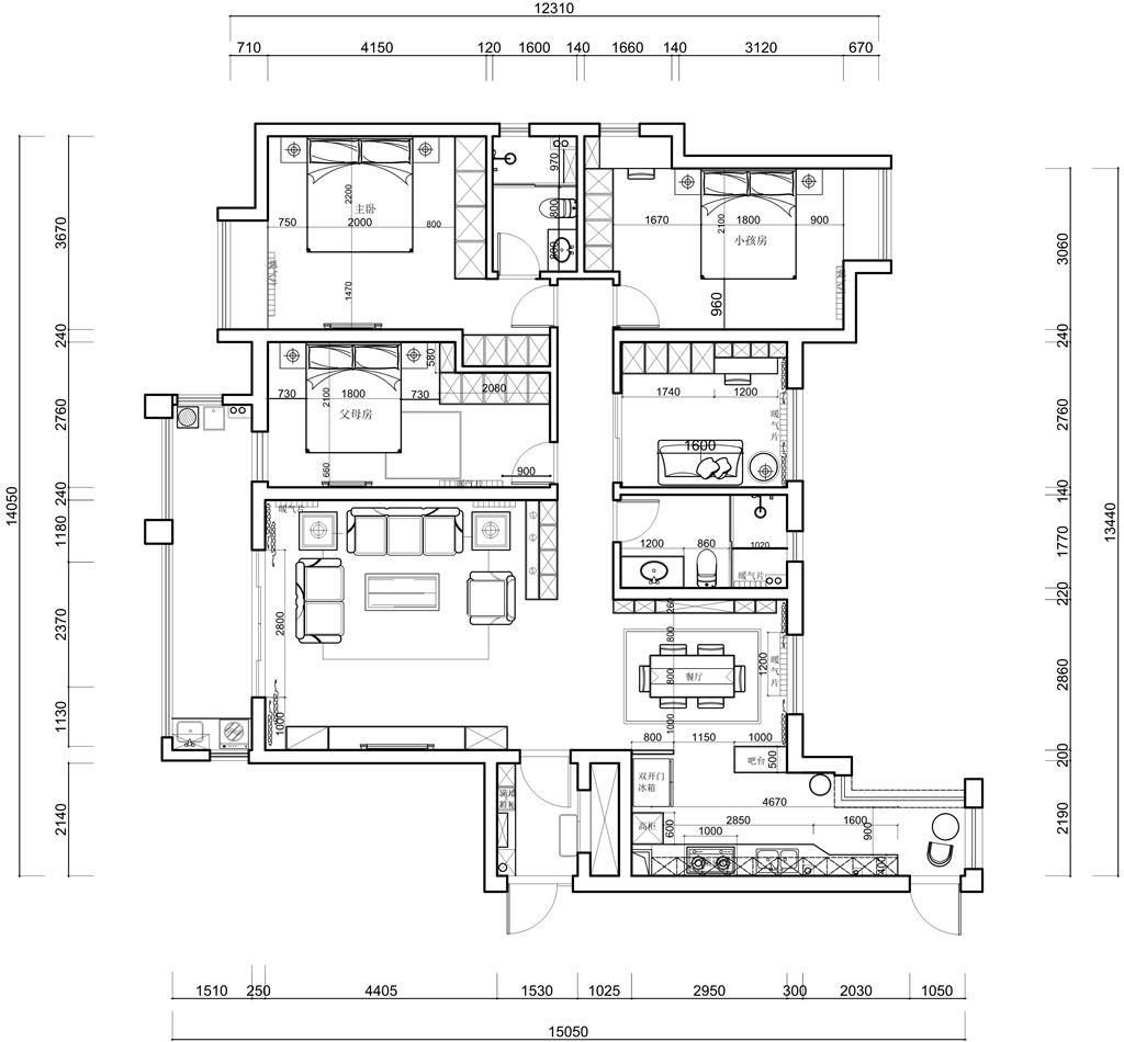 百步亭现代城美式178平米装修效果图装修设计理念