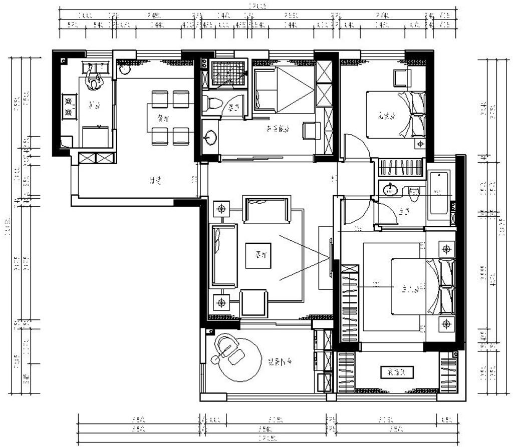 保利城北欧风格123平米装修效果图装修设计理念