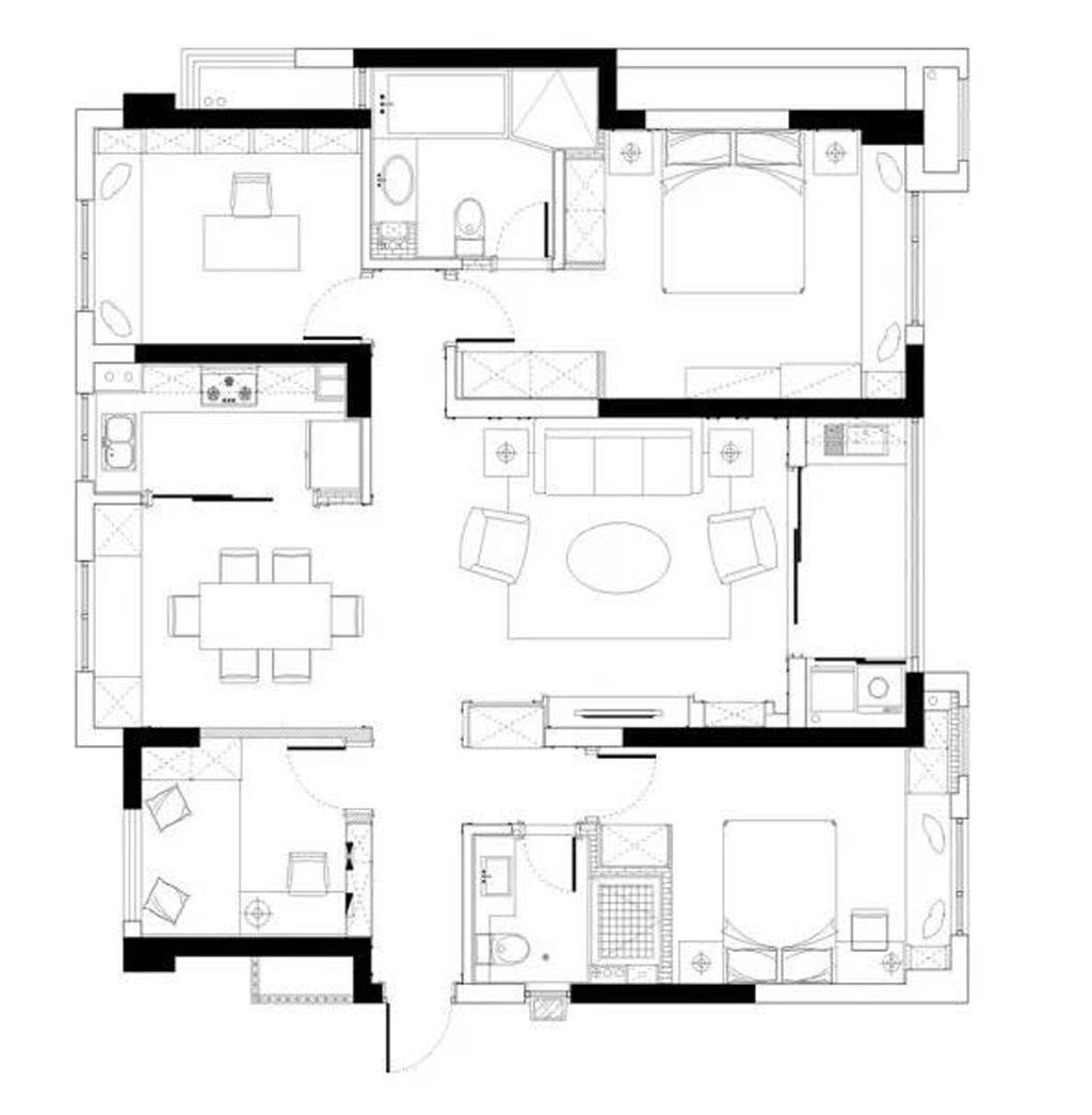 廊坊孔雀城-96平米-简美装修设计理念