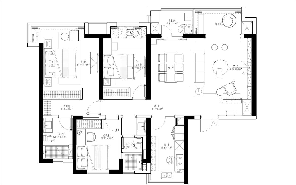 协信太古城145平新中式风格装修效果装修设计理念