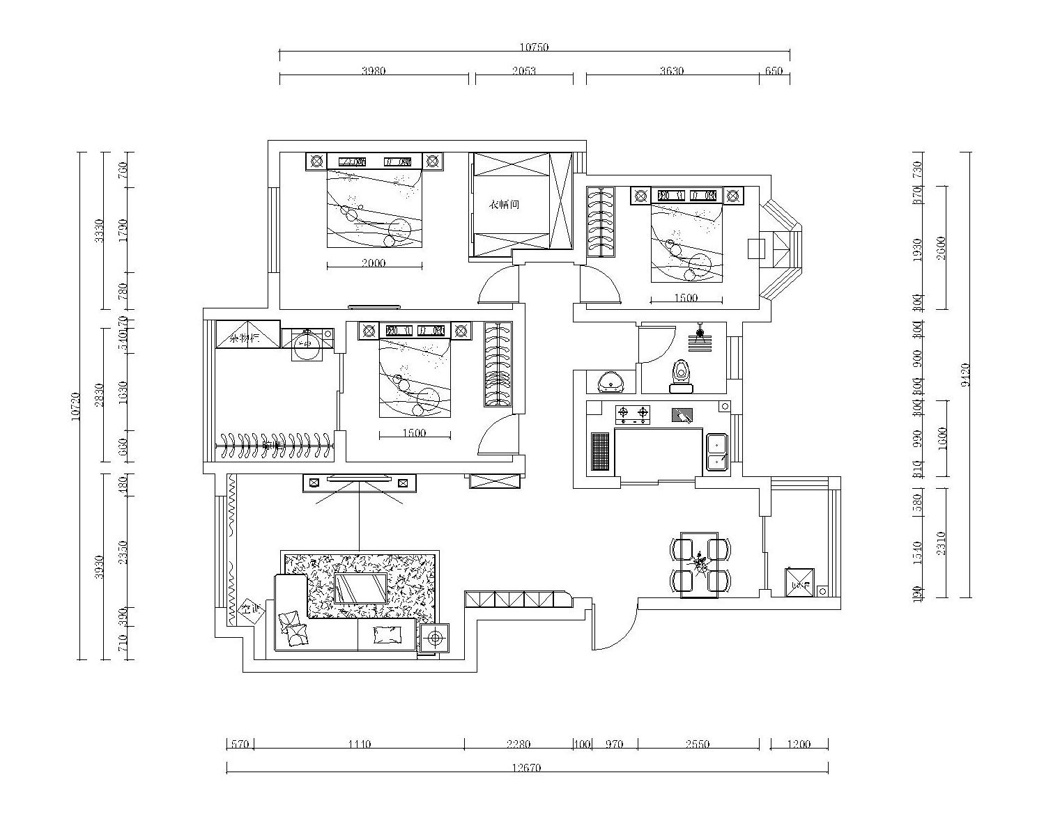 凤凰城现代简约134平普通住宅装修设计理念