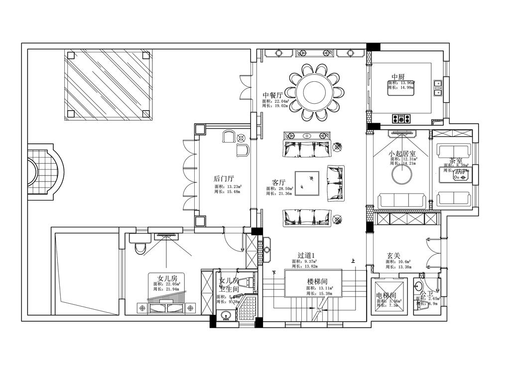 绿城玫瑰园325平跃层美式风格装修设计效果图装修设计理念