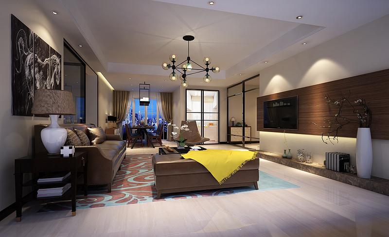 中央豪门-200㎡-现代低奢-四居室-客厅(图4)