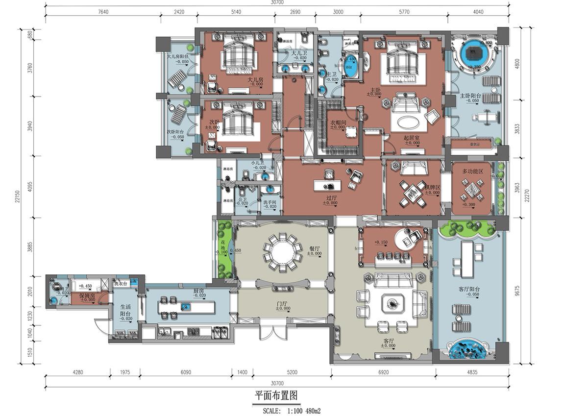 成都珍湖480㎡别墅欧式风格装修效果图装修设计理念
