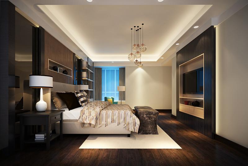中央豪门-200㎡-现代低奢-四居室-主卧(图5)