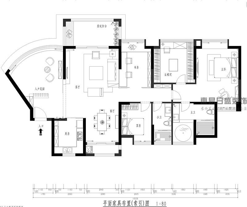 中央豪门-200㎡-现代低奢-四居室-平面家具图(图2)