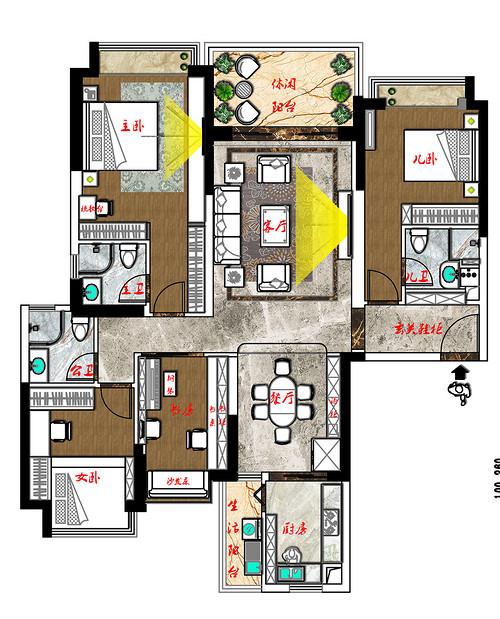 松山湖锦绣山河观园家装案例-180㎡现代新中式四房二厅装修效果图装修设计理念