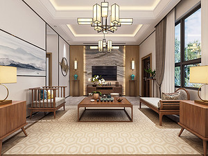 金地湖山大境280㎡新中式别墅家装设计方案