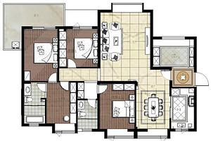 水岸星城-174平米-地中海-三室两厅装修样板间