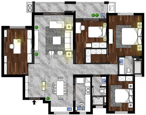 复地东湖国际七期现代风格171平米装修效果图装修设计理念