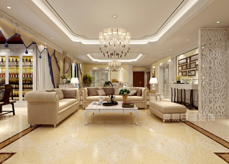 丹轩梓园 现代简约客厅装修样板房 五室两厅两卫一厨 190㎡ 案例风格