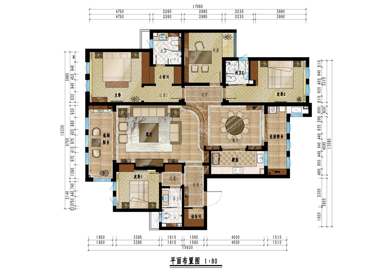 中隆国际御玺200平米现代中式风格装修设计理念