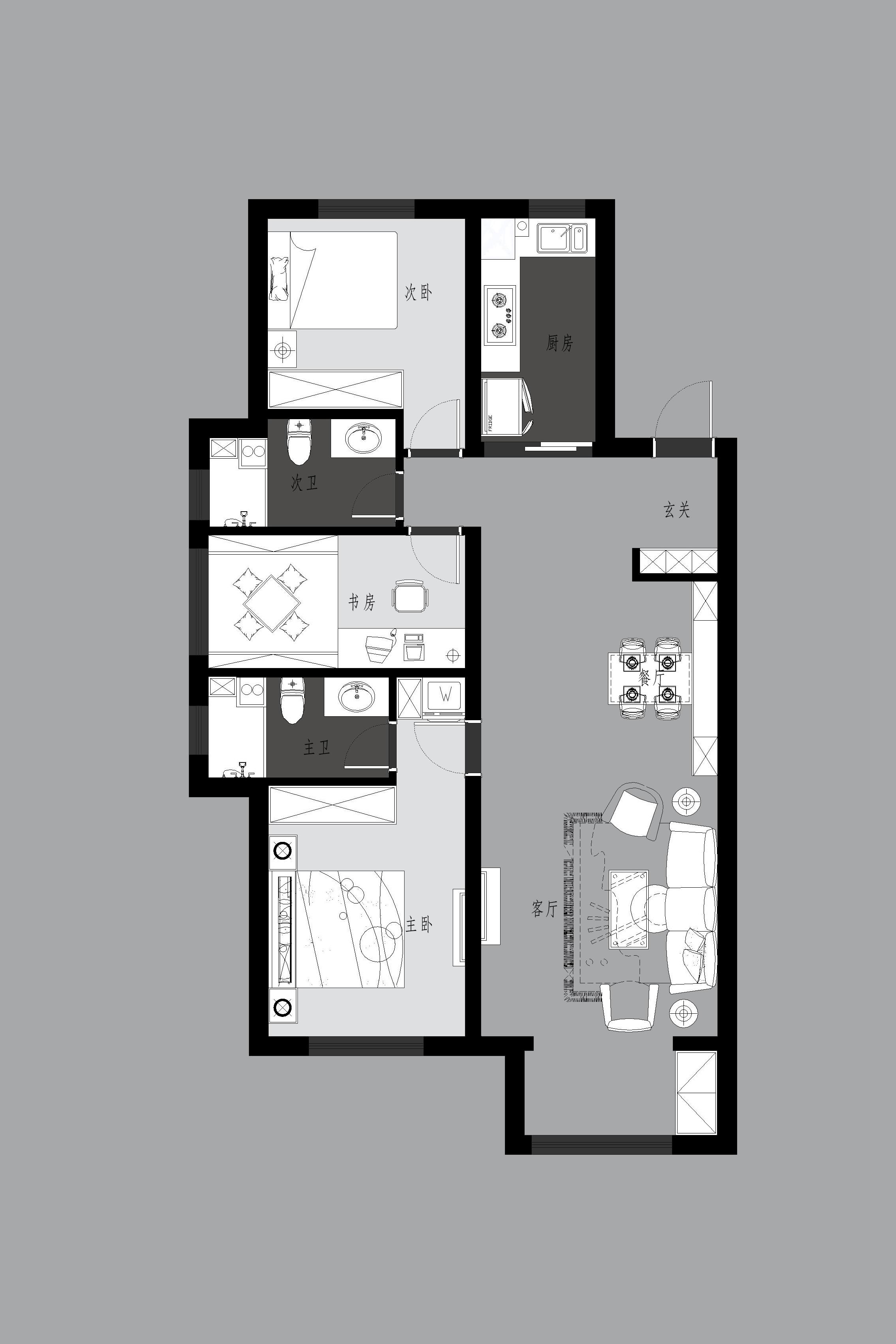 格林玫瑰湾118平现代简约风格案例效果图装修设计理念