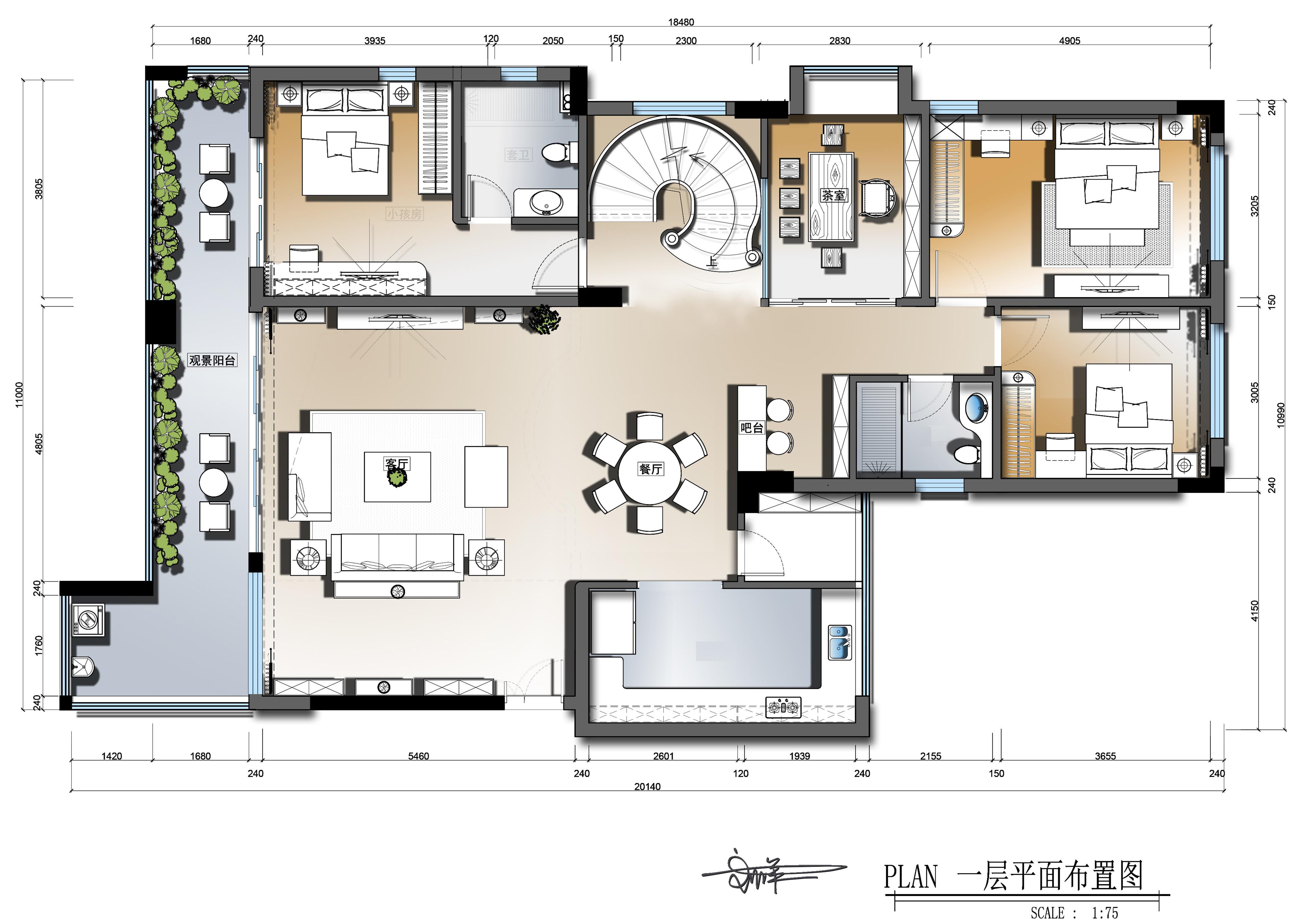 万江欧景城装修案例 380㎡现代中式别墅装修效果图装修设计理念