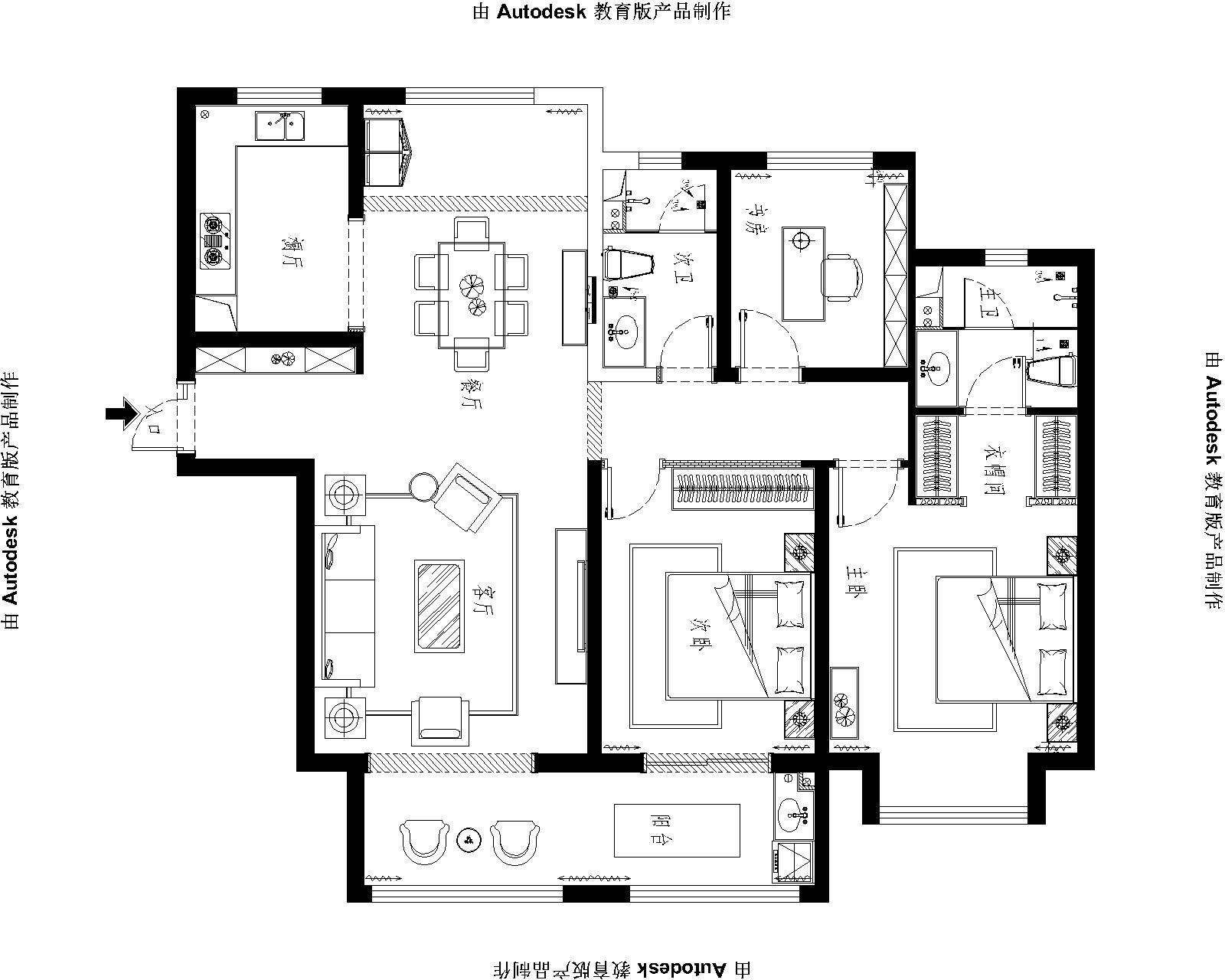 保利拉菲145平三室二厅现代简约风格装修案例装修设计理念