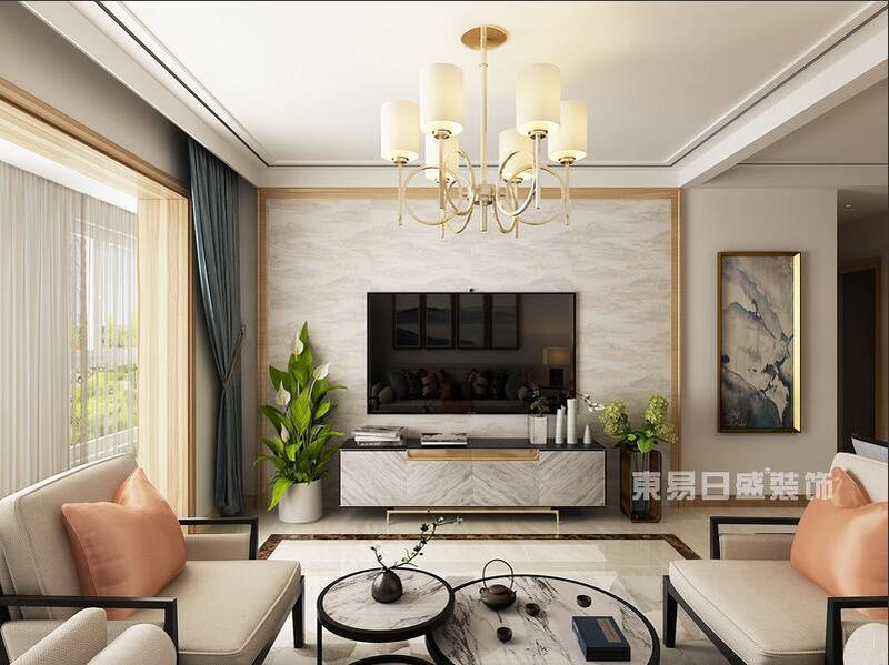 客厅的电视背景墙使用的是欧式木雕设计,木材雕刻造型刷白漆很符合