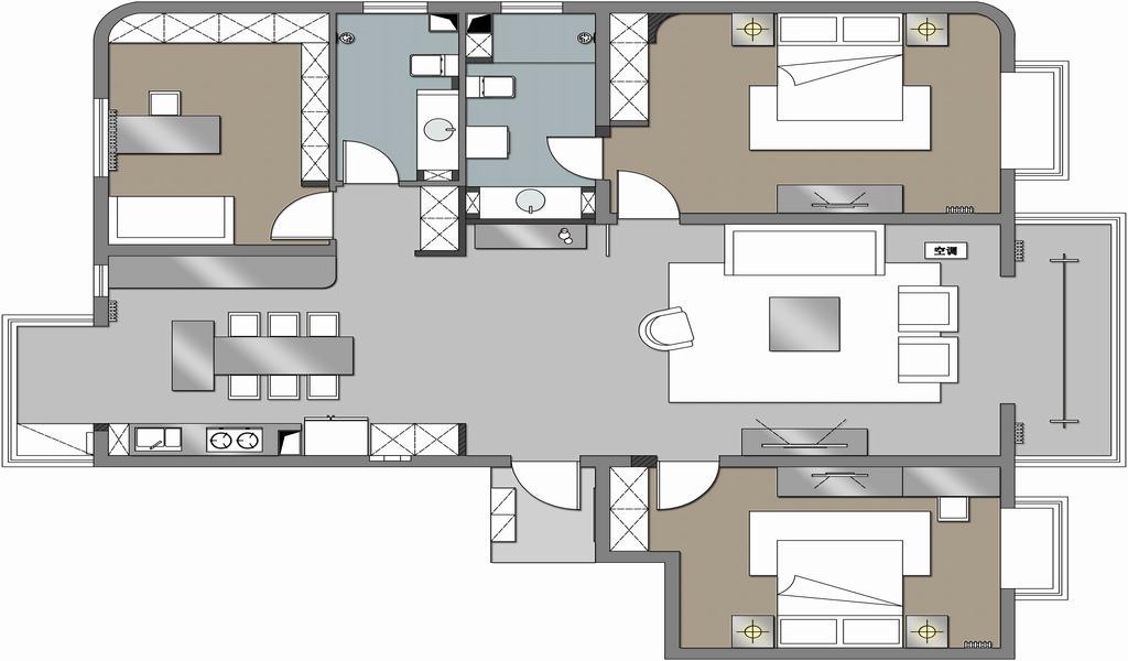 华纺易城-现代简约-120平米装修设计理念