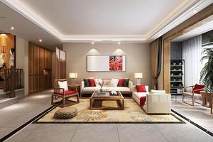 187㎡新中式风格三居室装修:巧用红色点缀,带给家浓浓东方韵味