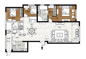 林荫大院三室两厅户型解析