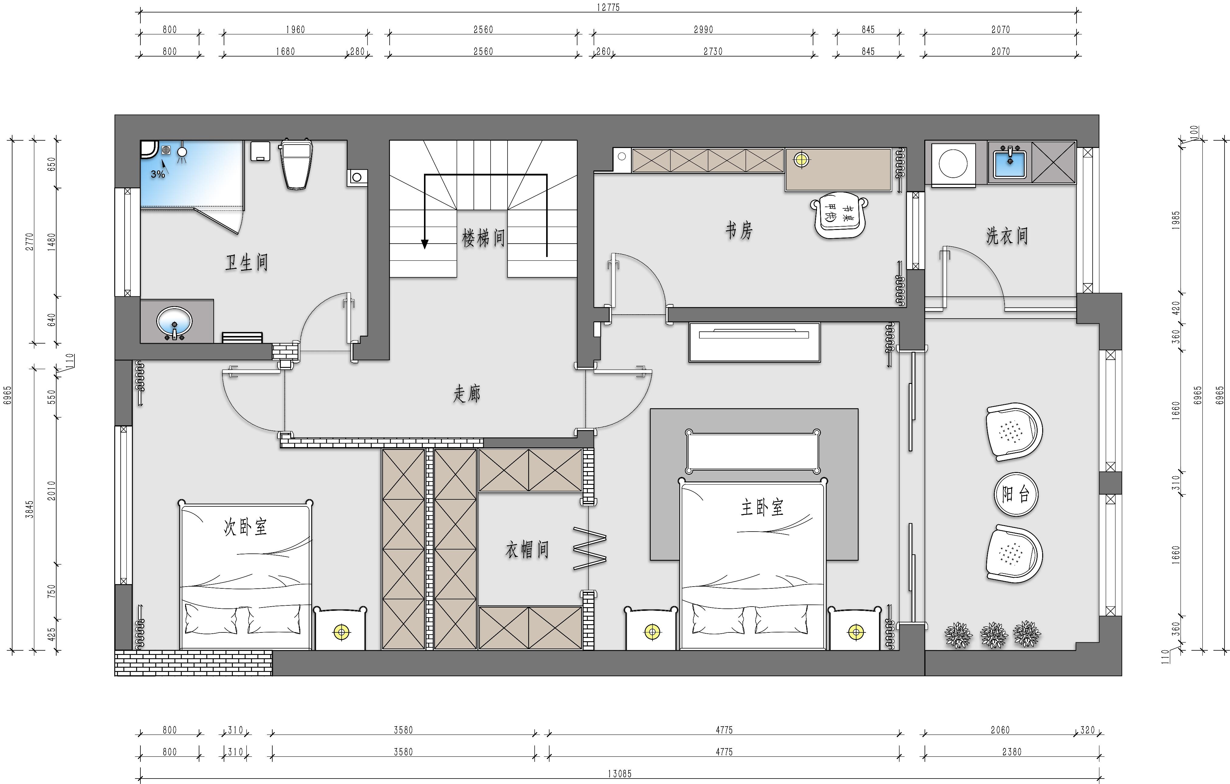 东方龙御 238m² 美式风格装修设计理念