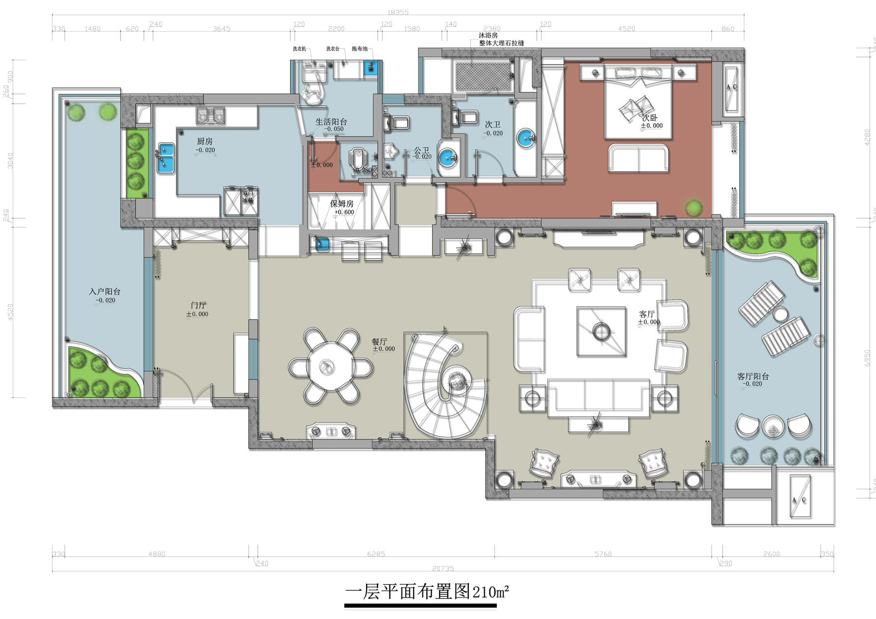 华侨城天鹅堡280㎡别墅美式乡村风格装修效果图装修设计理念