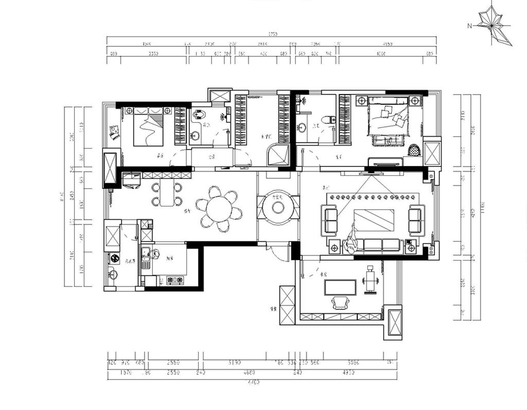 万达华府170㎡新中式风格平层装修设计理念