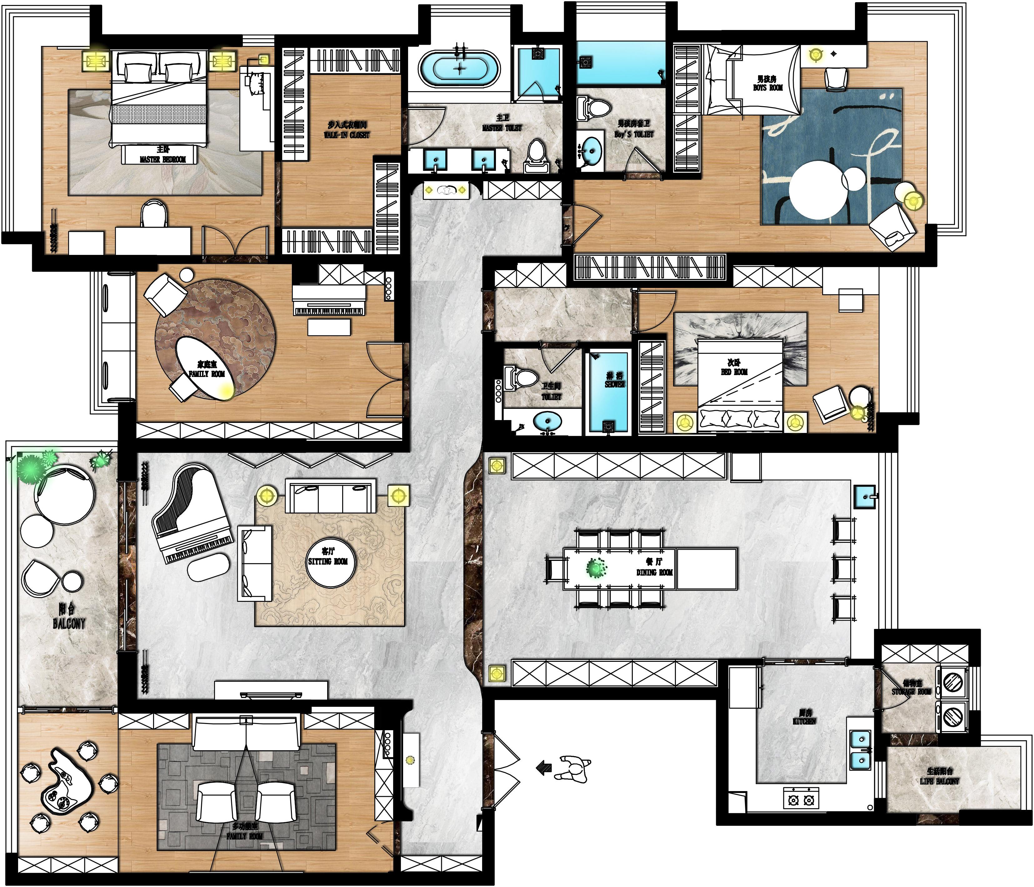 松山湖锦绣山河观园装修案例-330㎡新中式风格五房二厅装修效果图装修设计理念