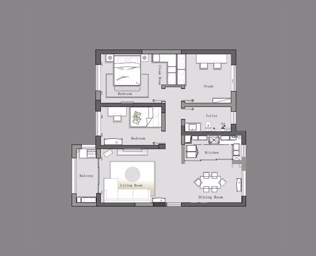山水文园-75平米-现代装修设计理念