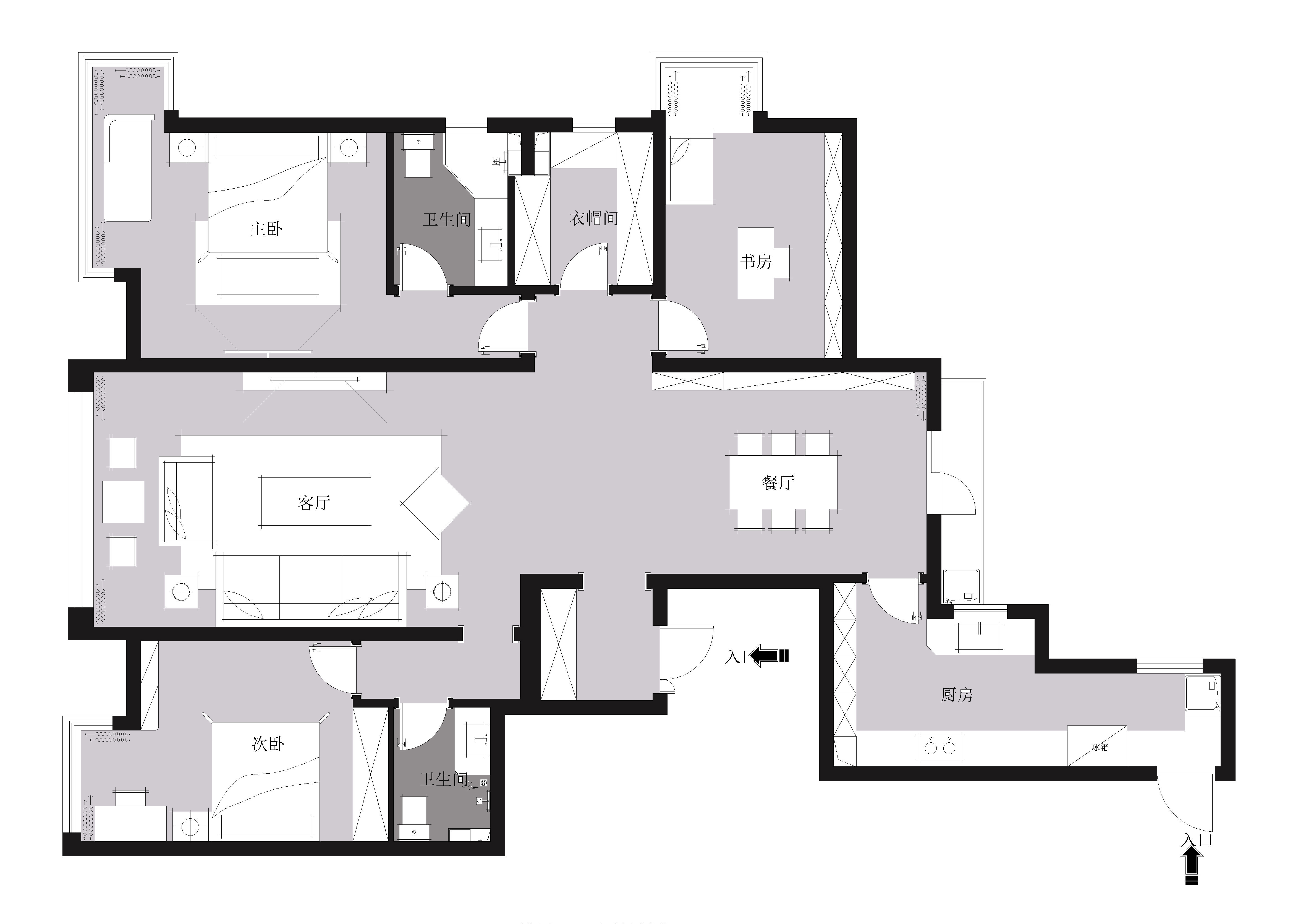 尚景新世界187平欧式风格效果图装修设计理念
