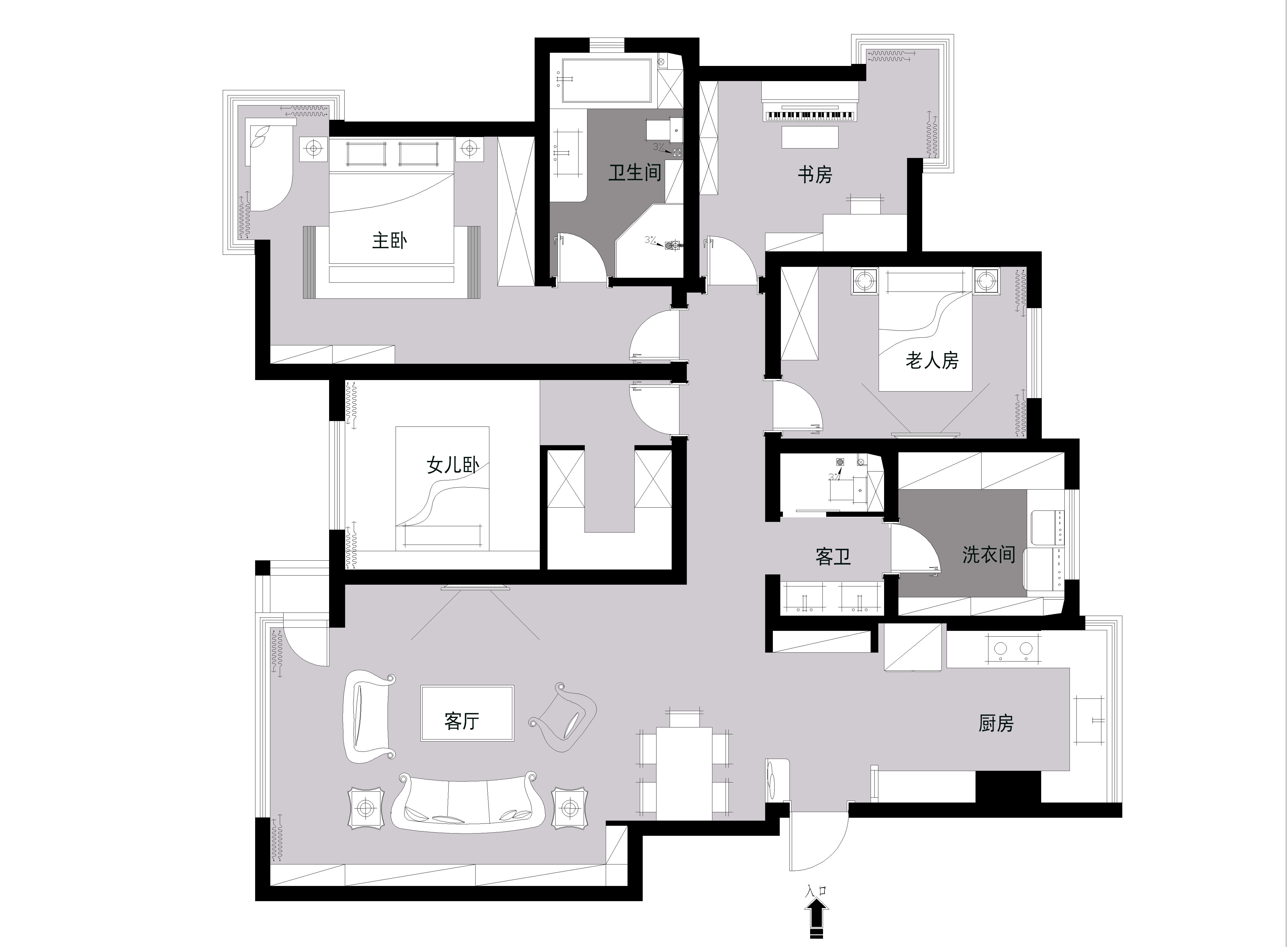 依云北郡143平米现代风格装修效果图装修设计理念