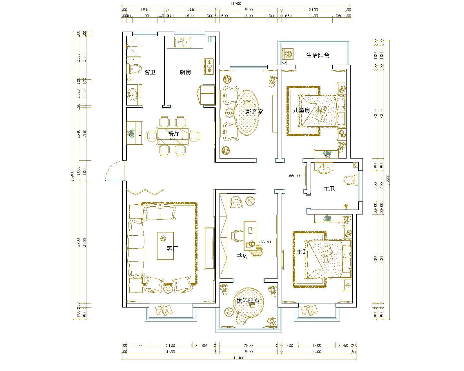 中央特区现代简约145平普通住宅装修设计理念