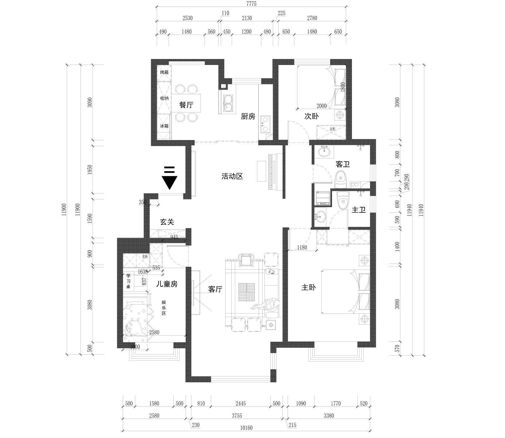 孔雀城学府澜湾-125平米-简约北欧装修设计理念