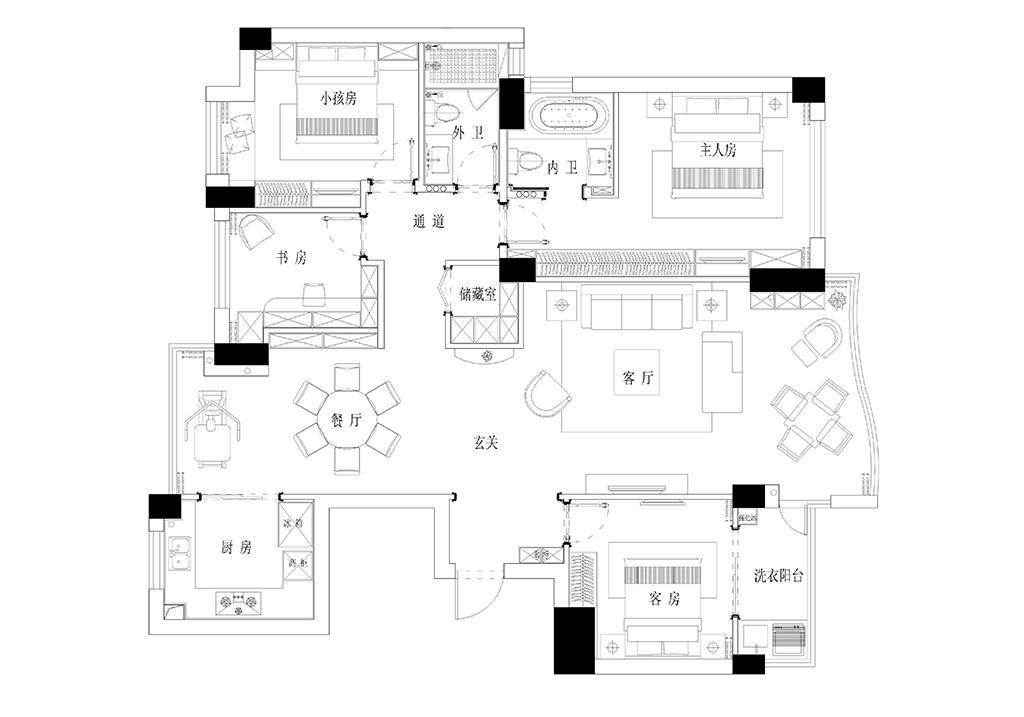 大自然华城150平现代简约设计装修效果图【渐 静】装修设计理念