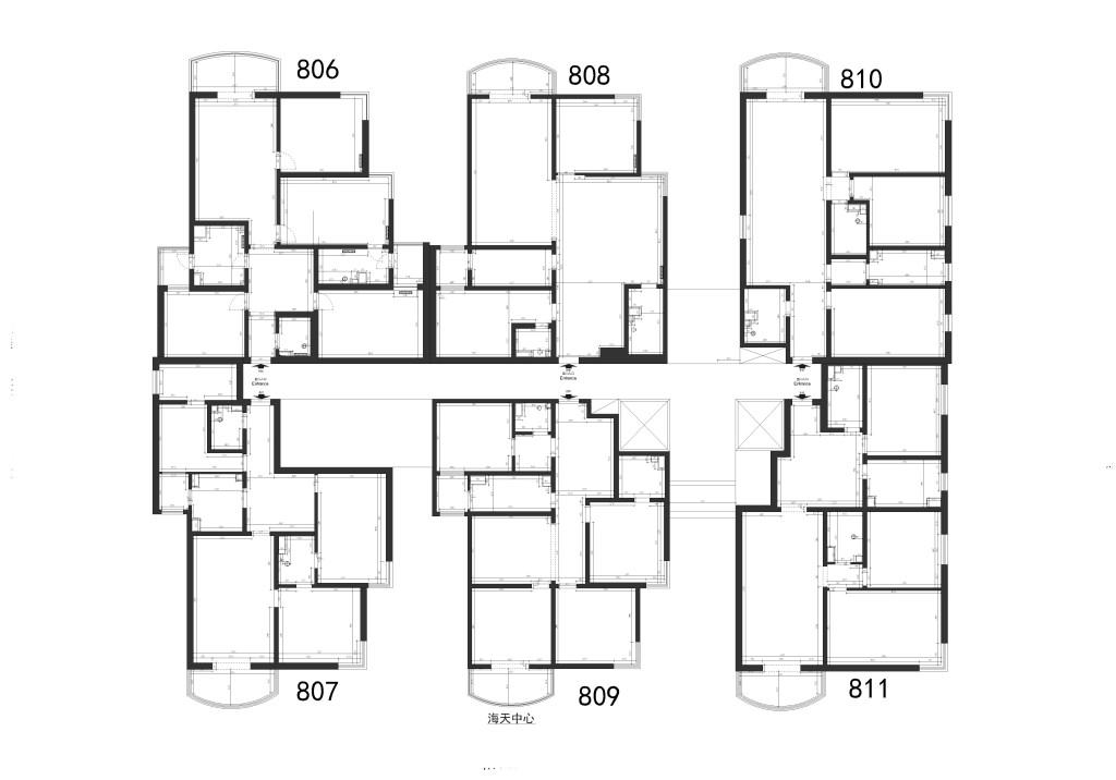 海天中心-870平米-新中式装修设计理念