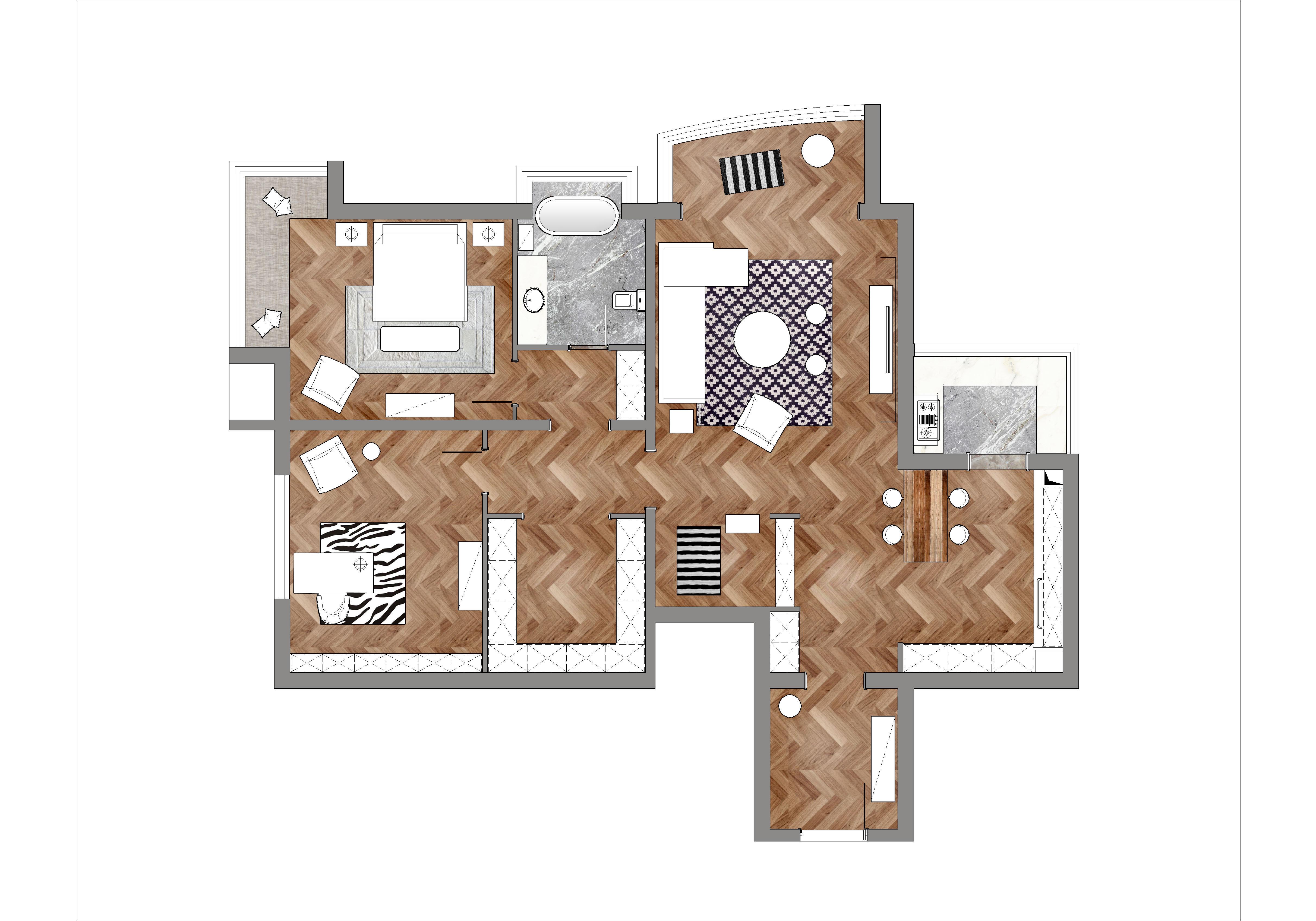 滨河世家 混搭风格 120平米装修设计理念