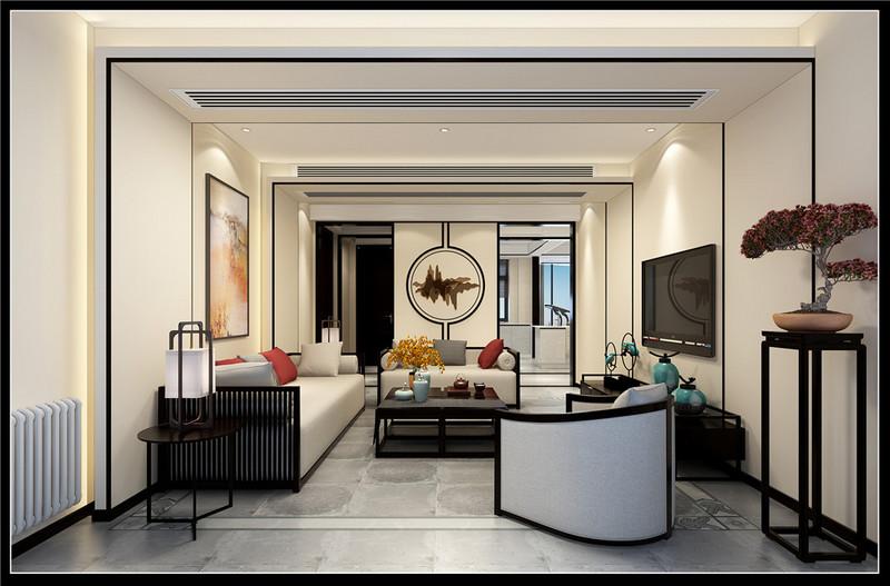 新中式户型客厅效果图