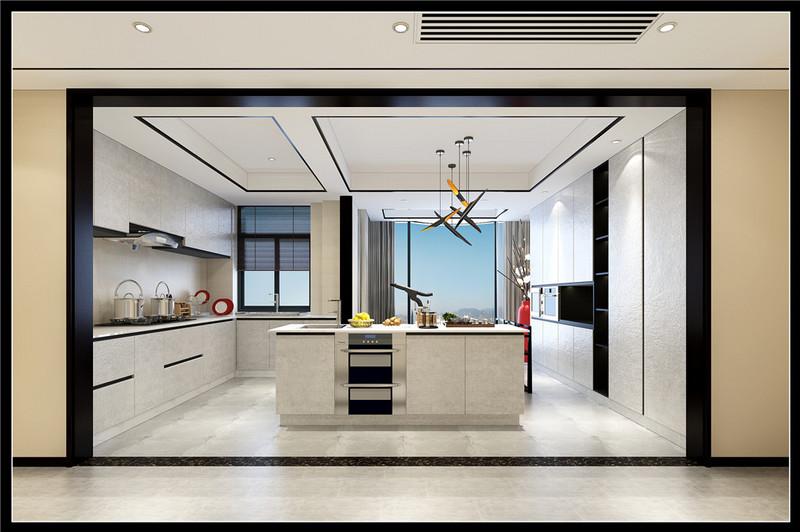 新中式户型厨房效果图