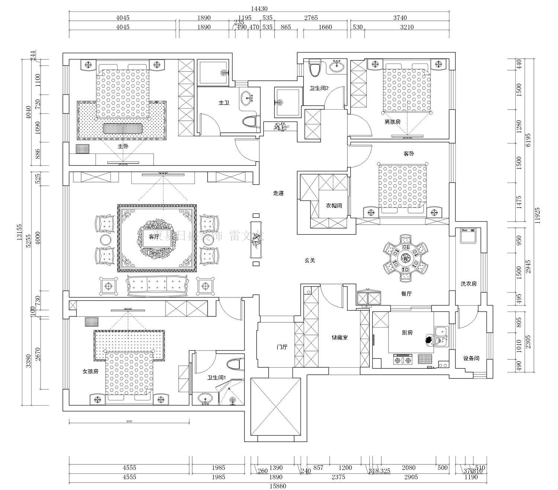 怡商会馆法式风格230平普通住宅装修设计理念
