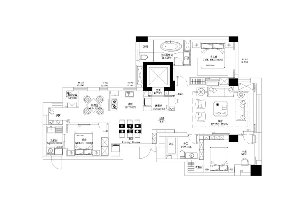 外滩首府126平现代前卫设计装修效果图装修设计理念