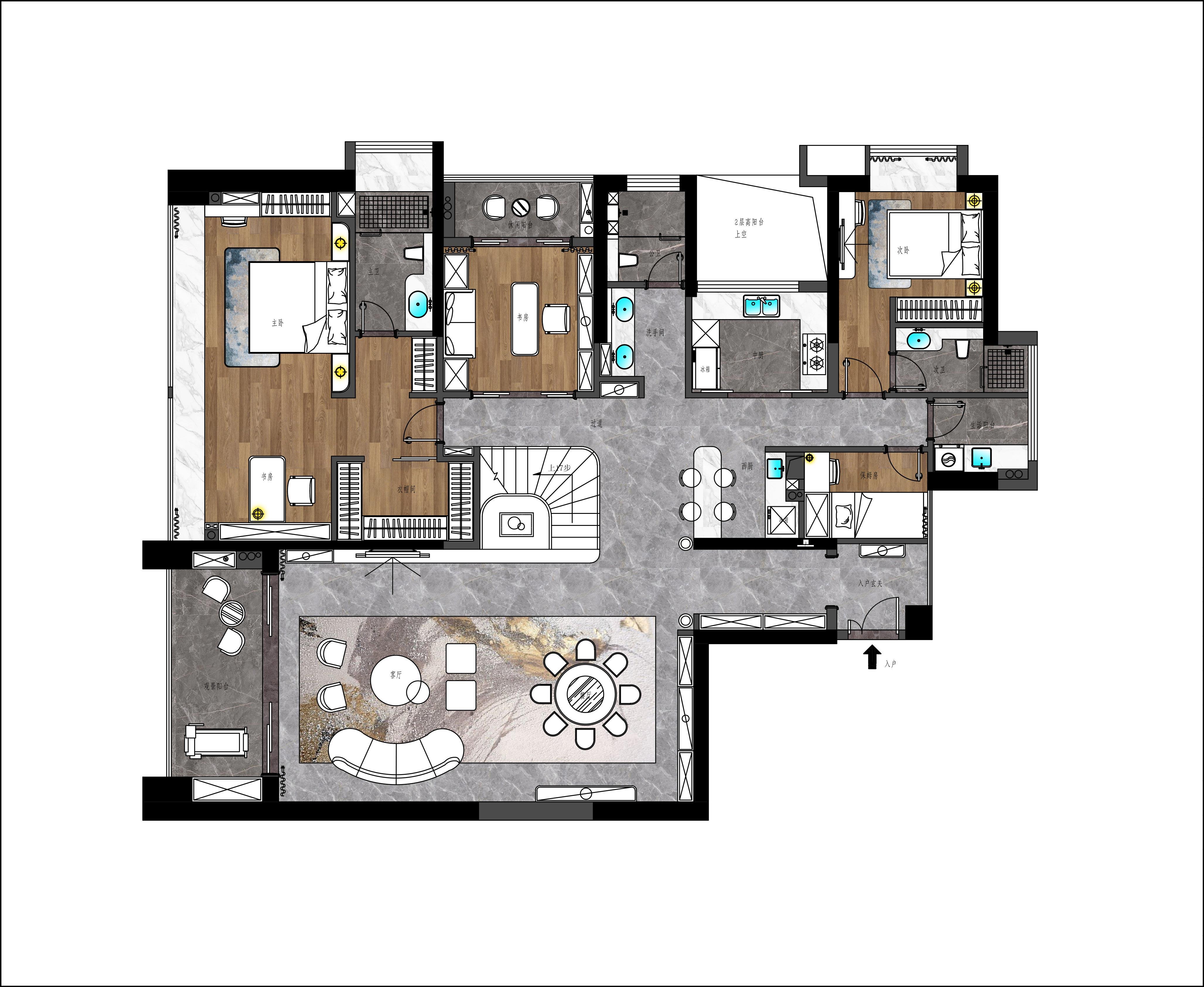 绿景红树湾壹号300平米-轻奢风格设计-高端别墅装修案例装修设计理念