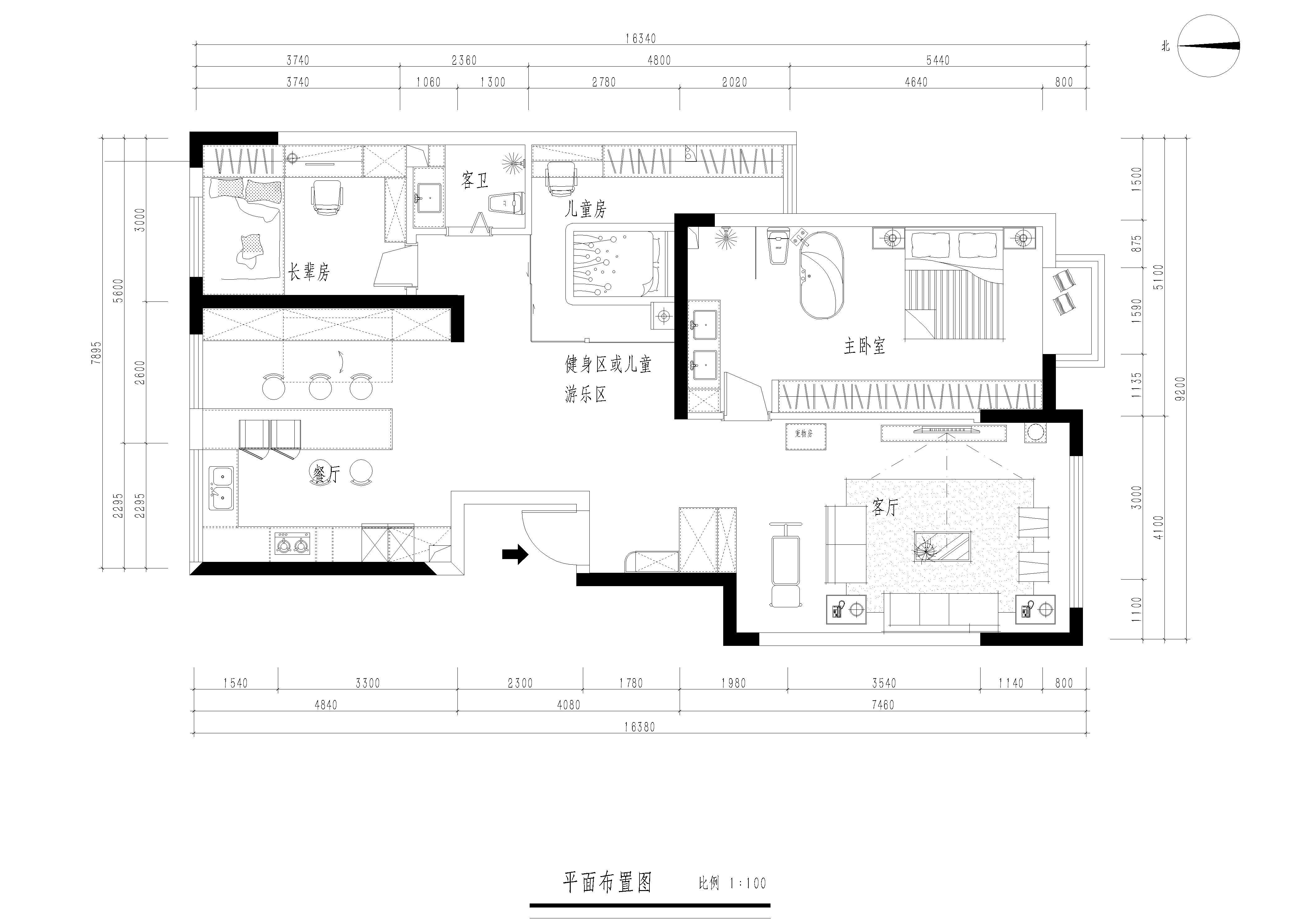 昆明银海泊岸 132平米四居室现代简约装修风格效果图装修设计理念