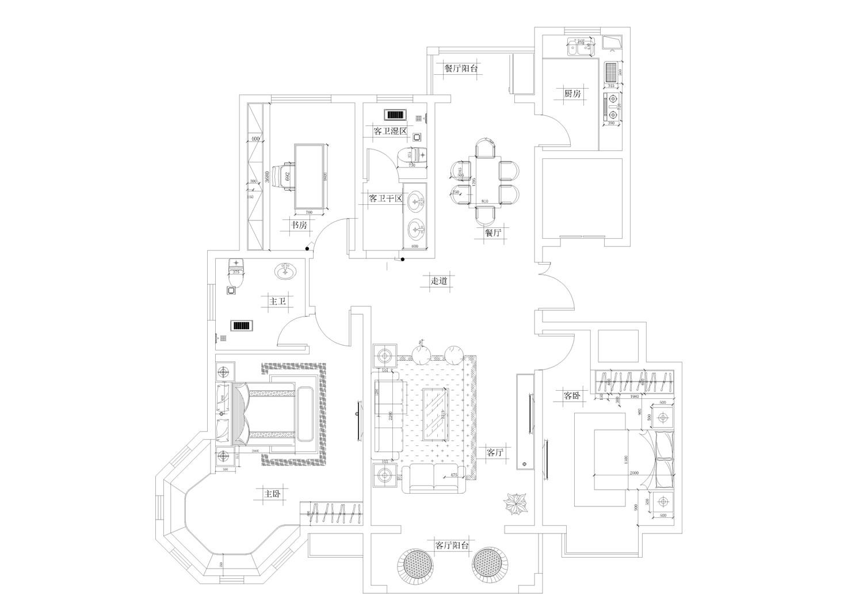 信阳某住宅欧式古典130平普通住宅装修设计理念