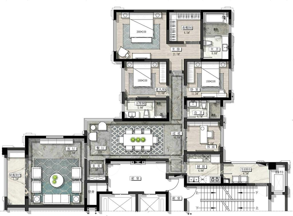 紫荆公馆-216㎡-现代轻奢装修设计理念