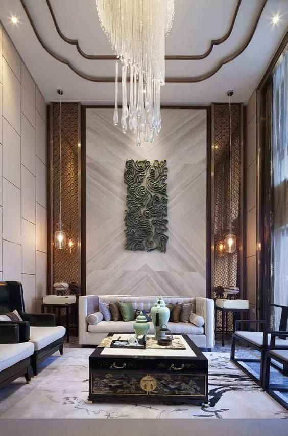 别墅装修挑空客厅挑高墙的设计装修