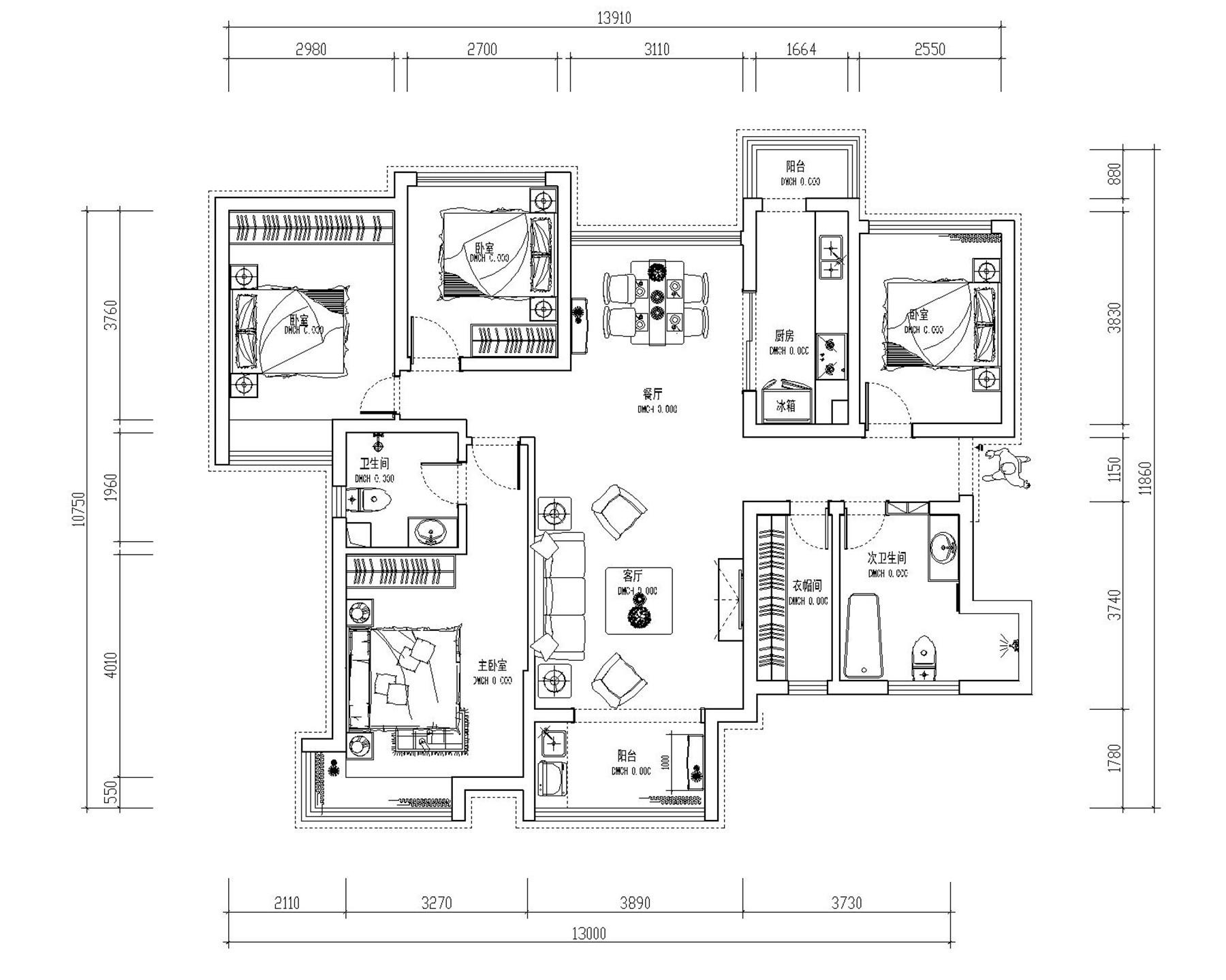 雅居乐国际花园简欧135平普通住宅装修设计理念