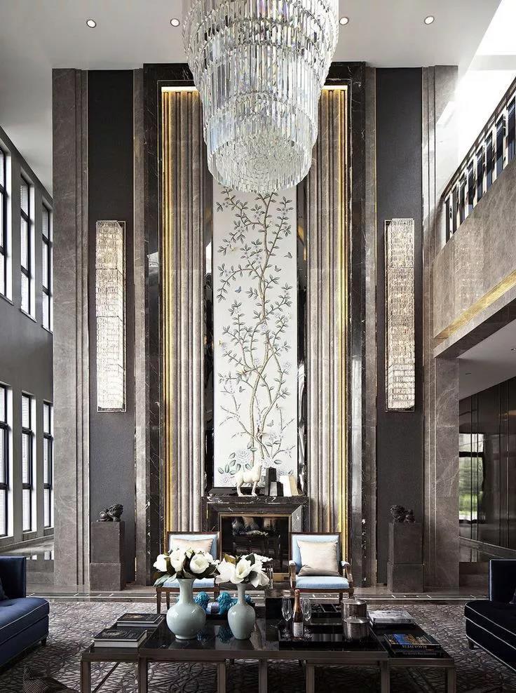 别墅装修挑空客厅挑高墙的设计装修-福州东易日盛装饰