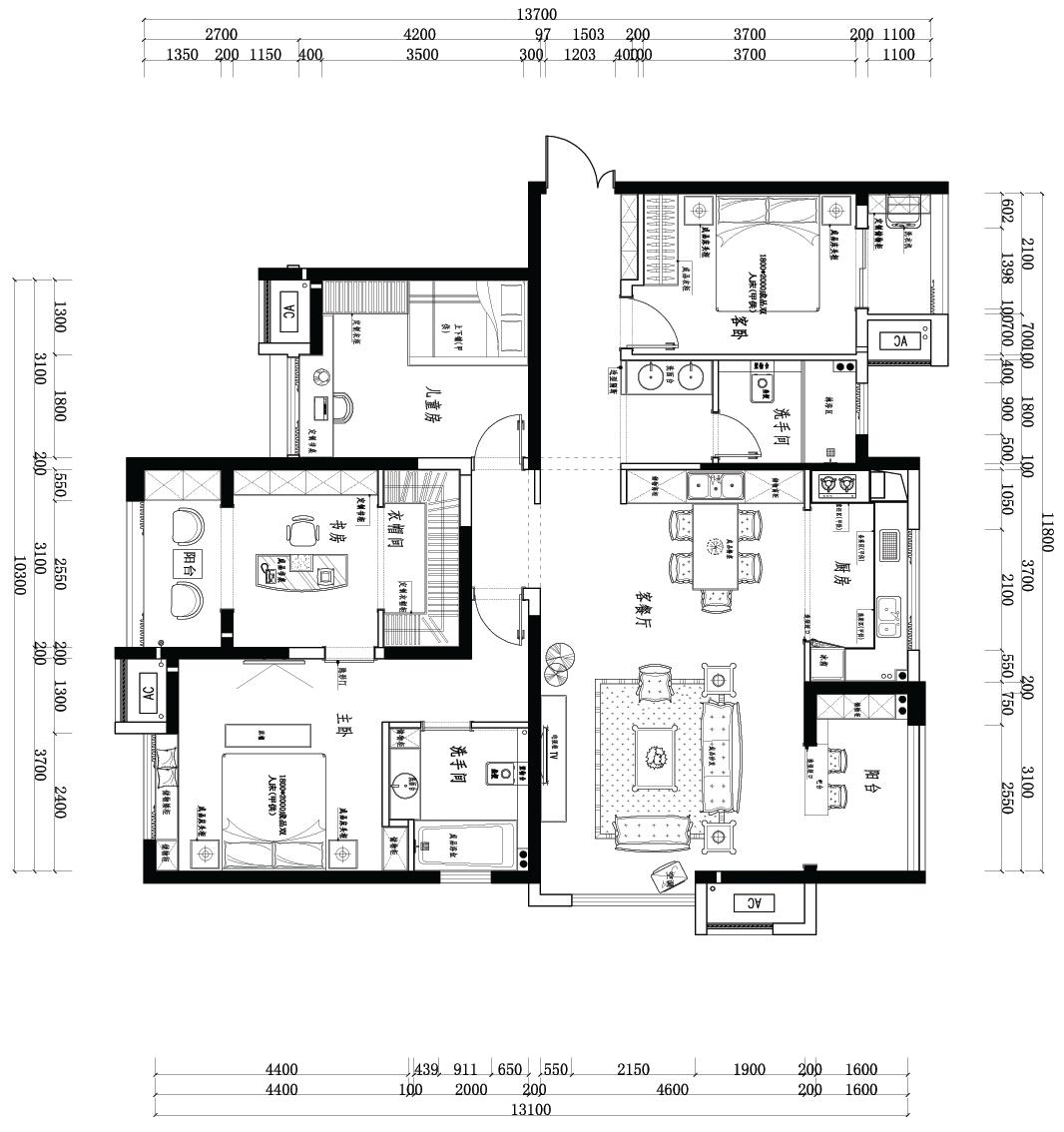 昌建誉峰古典157平四居室装修设计理念